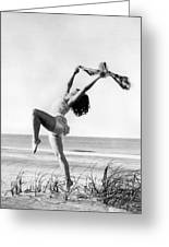 A Woman Dancing On The Shore Greeting Card