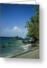 A Woman Enjoys Sunbathing On The Beach Greeting Card by Anne Keiser