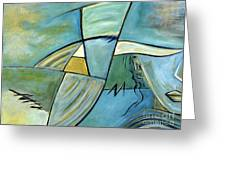 Beautiful Woman Contemporary Abstract Art Portrait Prints For Modern Living Rooms Greeting Card