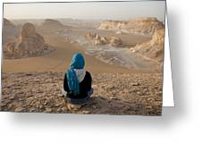 A Woman Sits Quietly On A Cliff Looking Greeting Card