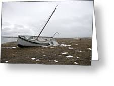 A Wooden Sailboat Is Beached Greeting Card