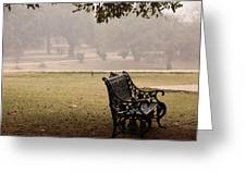A Wrought Iron Black Metal Bench Under A Tree In The Qutub Minar Compound Greeting Card