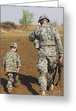 A Young Boy Joins His Squad Leader Greeting Card