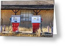 Abandoned Gas Pumps And Station Greeting Card