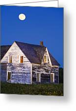 Abandoned House And Moon At Dusk Greeting Card