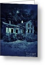 Abandoned House At Night Greeting Card
