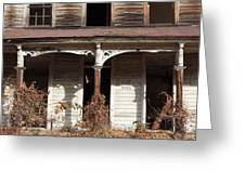 Abandoned House Facade Rusty Porch Roof Greeting Card