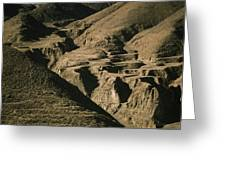 Abandoned Terraced Fields On Arid Hills Greeting Card