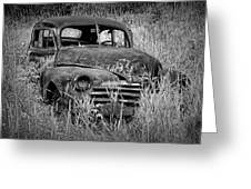 Abandoned Vintage Car Along The Roadside Greeting Card