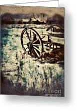 Abandoned Wagon By Old Ghost Town. Greeting Card