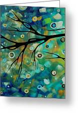 Abstract Art Original Landscape Painting Colorful Circles Morning Blues II By Madart Greeting Card