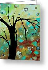 Abstract Art Original Landscape Painting Colorful Circles Morning Blues IIi By Madart Greeting Card