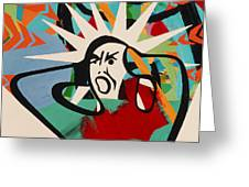 Abstract Artwork Of A Angry Man Holding His Head Greeting Card