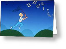 Abstract Artwork Of A Dyslexic Boy Chasing Words Greeting Card