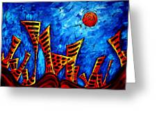 Abstract Cityscape Art Original City Painting The Lost City II By Madart Greeting Card
