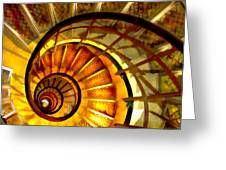 Abstract Golden Nautilus Spiral Staircase Greeting Card