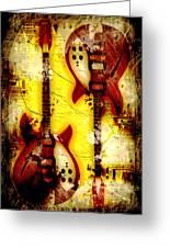 Abstract Grunge Guitars Greeting Card
