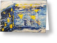 Abstract Kotel Prayer At The Western Wall Waiting For Peace In Blue Yellow Silver Jerusalem Israel  Greeting Card