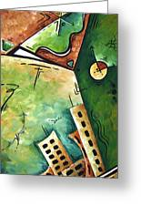 Abstract Martini Cityscape Contemporary Original Painting Martini Hour By Madart Greeting Card