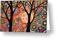 Abstract Modern Tree Landscape Distant Worlds By Amy Giacomelli Greeting Card