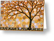 Abstract Modern Tree Landscape Dreams Of Gold By Amy Giacomelli Greeting Card