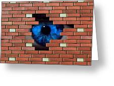 Abstract Of Eye Looking Through Hole In Brick Wall Greeting Card