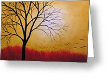 Abstract Original Tree Painting Summers Anticipation By Amy Giacomelli Greeting Card