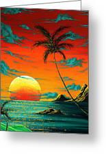 Abstract Surreal Tropical Coastal Art Original Painting Tropical Burn By Madart Greeting Card