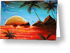 Abstract Surreal Tropical Coastal Art Original Painting Tropical Fusion By Madart Greeting Card