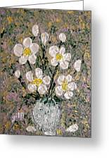 Abstract Wild Roses Heavy Impasto Greeting Card