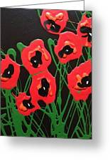 Accidental Poppies On Black Greeting Card