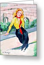 Actress In A Walled Garden Greeting Card