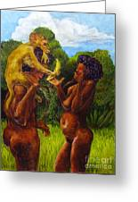 Adam And Eve And The Monkey Greeting Card