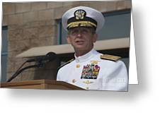 Admiral Eric Olson Speaks Greeting Card by Michael Wood