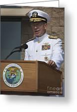 Admiral Mike Mullen Speaks Greeting Card by Michael Wood
