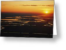 Aerial Sunset Of The Suisun Slough Greeting Card