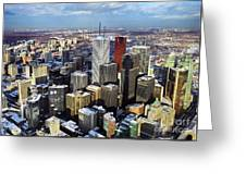 Aerial View From Cn Tower Toronto Ontario Canada Greeting Card