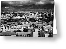 Aerial View From Southern Nicosia Over Northern Turkish Controlled Nicosia In Nicosia Lefkosia Greeting Card