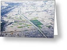 Aerial View Of Flooded Farmland Greeting Card