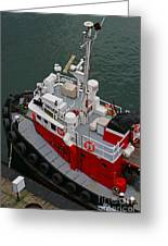 Aerial View Of Red Tug  Greeting Card