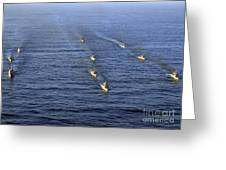 Aerial View Of Ships In Formation Greeting Card