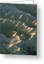 Aerial View Of Snowcapped Mountain Greeting Card