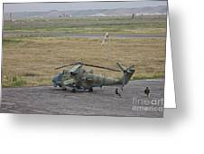 Afghan Army Soldiers Guard An Mi-35 Greeting Card