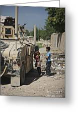 Afghan Children Ask U.s. Soldiers Greeting Card