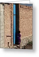 Afghan Girl In Doorway Greeting Card