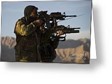 Afghan National Army Commandos Aim Greeting Card