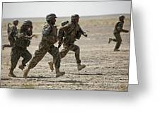 Afghan National Army Soldiers Run Greeting Card