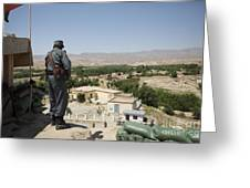 Afghan Policeman Standing Greeting Card