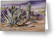 Agave And Purple Opuntia Greeting Card