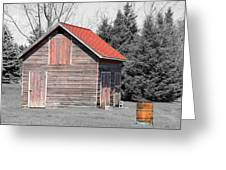 Aging Shed And Barrel Greeting Card